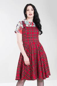 Irvine Red Tartan Pinafore Dress by Hell Bunny