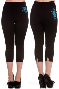 Lillian Blue Roses Black Capri Trousers by Hell Bunny
