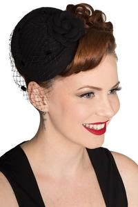 Marilyn Black Round Fascinator by Banned Apparel