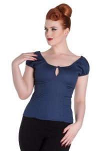 Melissa Navy Blue Gypsy Top by Hell Bunny - L ONLY