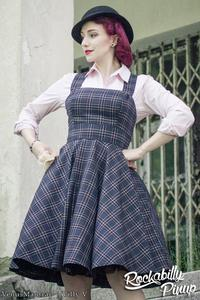 Peebles Navy Blue Tartan Pinafore Dress by Hell Bunny PLUS SIZE