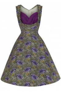 Ophelia Purple Floral Romantic Rockabilly Dress - UK8 ONLY