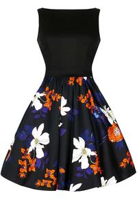 Japanese Black Floral Two-Tone Tea Dress by Lady Vintage