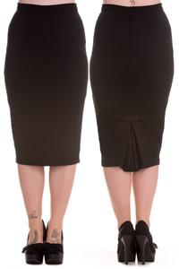 Joni Black Wiggle Pencil Skirt by Hell Bunny - XXS XS ONLY