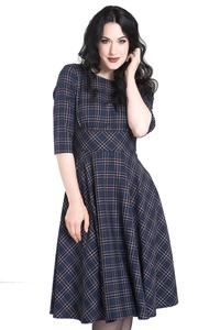 Peebles NAVY BLUE Tartan 50's Dress by Hell Bunny
