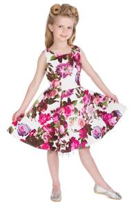 Audrey 50's Cream Floral Children's Rockabilly Dress